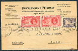 1927 Greece Athens Business Postcard - Gand Belgium - Covers & Documents