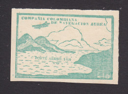 Colombia, Scott #C11 Unlisted Variation, Mint No Gum, Biplane,  Issued 1920 - Colombia