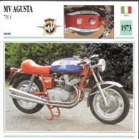 1973 - FICHE TECHNIQUE MOTO - DÉTAIL COMPLET À L´ENDOS - MV AGUSTA 750 S - SPORT - ITALIE - Motos