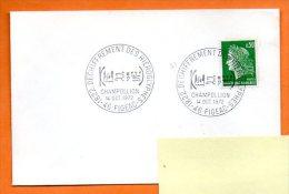 46 FIGEAC     DECHIFFREMENT DES HIEROGLYPHES   CHAMPOLLION   1972  Lettre Entière N°  I 430 - Commemorative Postmarks