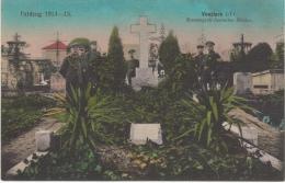 Top seltene kolorierte AK,Vouziers,Friedhof,Mass engrab deutscher Helden,Feldpost,Stempel,F rankreich,1.WK,1916