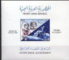 08 Yemen AR 1966 Mi. Block 49 MNH S/S Soviet Space Exploration LUNA IX - Yemen