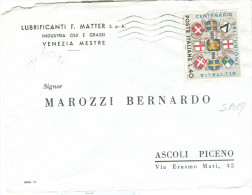 STORIA POSTALE, ANNESS.VENETO £. 40, S 1019, ISOLATO IN TARIFFA  LETTERA ,1966, VENEZIA - ASCOLI PICENO - 1946-.. République
