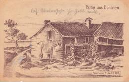 Top seltene AK,Partie aus Dontrien,Zeichnung,Feldpo st,Frankreich,Kriegs-Erin nerungs-Karte,1.WK