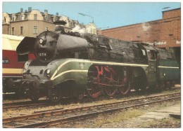 TRAIN Allemagne - EISENBAHN Deutschland - HALLE/SAALE - Dampf Schnellzuglokomotive 18 314 - Stations With Trains