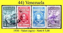 Venezuela-0044 - 1938 - Valori (sg/o) - - Venezuela