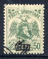 ALBANIA 1922 Skanderbeg & Eagle With Control Overprint II On 50 Q..used.  Michel 80 II - Albania