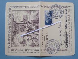 Carte Lettre Journée Nationale Du Timbre 1943, 4 Francs Nicolas Rotin..... - Stamps (pictures)