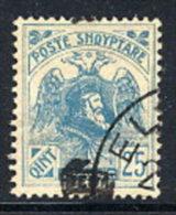 ALBANIA 1922 Skanderbeg & Eagle With Control Overprint II On 25 Q..used.  Michel 79 II - Albania