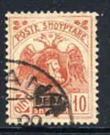 ALBANIA 1922 Skanderbeg & Eagle With Control Overprint II On 10 Q..used.  Michel 78 II - Albania
