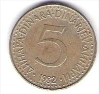 Jugoslawien 5 Dinara N-Me 1982 Schön Nr.85 / KM 88 - Yougoslavie