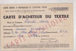 CARTE D'ACHETEUR DU TEXTILE  ETAT MOYEN - Textile & Vestimentaire
