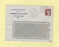 Syam - Jura - 30-3-1961 - Forges De Syam - Marianne De Decaris - Marcophilie (Lettres)