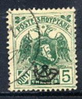 ALBANIA 1920 Skanderbeg & Eagle With Control Overprint I On 5 Q. Used.  Michel 77 I - Albania