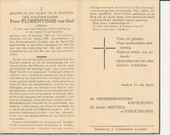 Doodsprentje Pater Minderbroeder FLORENTINUS VAN GEEL °1883 +1953 - Lommel - Religion & Esotérisme