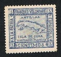 Cuba A La Patria Española Antillas Franqueo Voluntario 5 Cts. Nuevo Char. Sin Goma - Cuba (1874-1898)