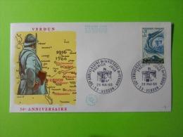 FDC 1966 Premier Jour Verdun 50e Anniversaire De La Victoire De Verdun - FDC