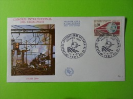 FDC 1966 Premier Jour Paris 19e Congrès International Des Cheminots Chemins De Fer - FDC