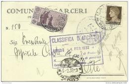 CARCERI  PADOVA  Serie Comuni  Avviso  Con  VII Centenario Antoniano - Padova