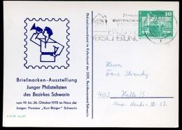 DDR PP16 D2/055 Privat-Postkarte AUSSTELLUNG gelaufen Schwerin 1976