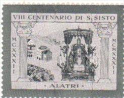 ERINNOFILO VIGNETTA CINDERELLA - VIII CENTENARIO S. SISTO - Erinofilia