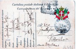CARTOLINA POSTALE IN FRANCHIGIA-DALLA ZONA DI GUERRA A VITTORITO-AQUILA (TIMBRO RIQUADRATO - 1900-44 Victor Emmanuel III