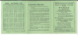 Calendrier Des Marées De Brest 1959 (2 Scans) - Calendriers