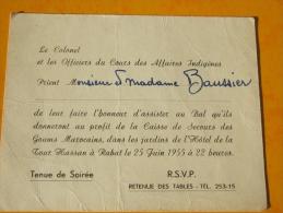 Carte Invitation   Du Colonel Du Cours Des Affaires Indignènes Goms Marocains Légion - Documents