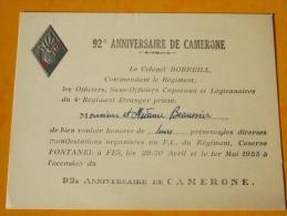 92 Anniversaire De Camerone Colonel Borreill Mai 1955 Caserne Fontanel Fès Militaria - Documents