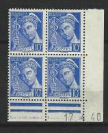"""Coins Datés Yt 407 """" Mercure 10c. Outremer"""" 1939 Neuf - 1930-1939"""