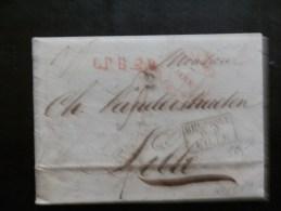 46/074  LETTRE (REVUE COMMERCIALE D'ANVERS 1836)  LPB2R LETTRE BELGE 2° RAYON + BEL. PAR LILLE - 1830-1849 (Belgique Indépendante)