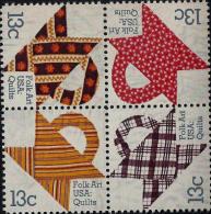 1978 USA Basket Design Quilts American Folk Art Stamps Sc#1745-48 1748a - Textile