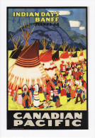 Poster Art Postcard Canadian Pacific Indian Days Banff Canada Wigwam Teepee Tent - Advertising