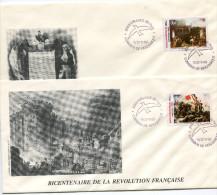 MOZAMBIQUE N°1114/5 THEME REVOLUTION FRANCAISE 2 ENVELOPPES OBLITERATION MOCAMBIQUE 7/17-7-89 PHILEXFRANCE-89-PARIS - Franz. Revolution