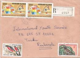 Niger 1990 Niamey RP Laniarus Tockus Bird Philatelic Exhibition Registered Cover - Niger (1960-...)