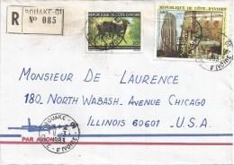 Cote D´Ivoire Ivory Coast 1983 Bouake 01 Duicker Antilope Postal Ministry Building Registered Cover - Ivoorkust (1960-...)