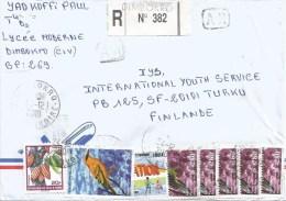 Cote D´Ivoire Ivory Coast 2001 Dimbrokro Oriolus Bird Green Pigeon Dove AR Advice Of Receipt Registered Cover - Ivoorkust (1960-...)