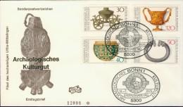 DV13-067 WEST GERMANY 1976 FDC MI 897-900 ARCHEOLOGICAL HERITAGE, KULTURGUT. - Archeologie