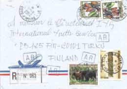 Cote D´Ivoire Ivory Coast 2002 Abidjan 21 Buffalo Totem Pole Spirits Cocoa AR Advice Of Receipt Registered Cover - Ivoorkust (1960-...)