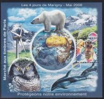 = Bloc Carré Marigny 4 Jours Mai 2008 Marché Aux Timbres Protégeons L'environnement Ours Abeille Dauphin Hibou Dentelé - CNEP