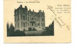 GREECE 1916 WWI POSTCARD OF VILLA ALLATINI, OLD PALACE OF EX OTTOMAN SULTAN ABDUL-HAMID, FELDPOST CIRCULATED - Grèce