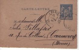 CARTE LETTRE  ENTIER POSTAL - De Paris à Commercy (1891) - Cartes-lettres
