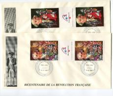 TOGO N°1272/3 EN TRIPTYQUE THEME REVOLUTION FRANCAISE 2 ENVELOPPES OBLITERATION LOME 12-6-1989 - Franz. Revolution