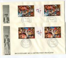 TOGO PA 661/2 EN TRIPTYQUE THEME REVOLUTION FRANCAISE 2 ENVELOPPES OBLITERATION LOME 12-6-1989 - Franz. Revolution