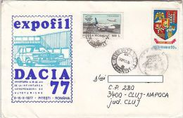 PLANE, ARGES COUNTY COAT OF ARMS, STAMPS ON DACIA CAR FACTORY SPECIAL COVER, 1997, ROMANIA - 1948-.... Républiques