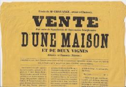 Affiche - Vente D'une Maison Et De 2 Vignes - CLAMECY - 1871 - Etude VILLIERS - Affiches