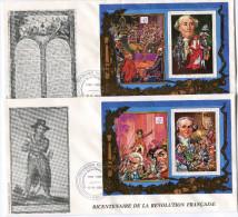 TOGO N°1272/3 + PA 661/2 EN BF THEME REVOLUTION FRANCAISE 4  ENVELOPPES OBLITERATION LOME 12-6-1989 - Franz. Revolution