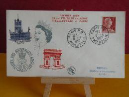 FDC -  La Reine D´Angleterre à Paris - Paris 8.4.1957 - 1er Jour, Coté .. € - 1950-1959