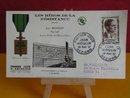 FDC - Les Héros De La Résistance, Jean Moulin - Béziers 18.5.1957 - 1er Jour, Coté 12 € - 1950-1959