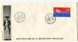 FRANCE THEME REVOLUTION FRANCAISE ENVELOPPE OBLITERATION 85 TALMONT ST HILAIRE 20-07-89......... - Franz. Revolution